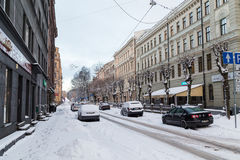De winters in Riga, Letland stock foto