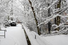 De winterscène - behandelde de sneeuw dik park, rivier Pegnitz, Nuremberg, Duitsland Royalty-vrije Stock Afbeeldingen