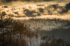 De winterscène bij zonsondergang