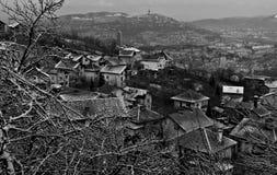 De winterscène boven Sarajevo, Bosnië-Herzegovina Royalty-vrije Stock Foto's