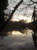 De winterscène een meer wordt overdacht dat Royalty-vrije Stock Foto's