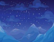 De winterscène met bergenlandschap, nacht sterrige hemel en wolken Stock Afbeelding