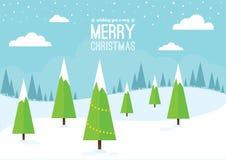 De winterscène met Kerstbomen stock illustratie
