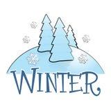 De winterscène met Pijnboombomen royalty-vrije illustratie