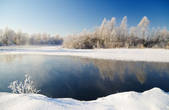 De winterscène met rivierachtergrond Stock Fotografie