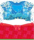 De winterscène met sneeuw en bomen Stock Afbeelding