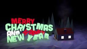 De winterscène met tekst-vrolijke Kerstmis en Gelukkig Nieuwjaar Royalty-vrije Stock Afbeeldingen