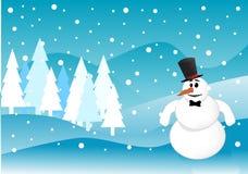De winterscène van sneeuwmankerstmis Royalty-vrije Stock Afbeeldingen