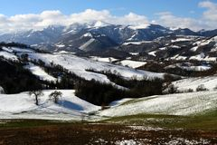 De winterscène van Sibillini Royalty-vrije Stock Foto