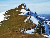 De wintersfeer op weilanden en landbouwbedrijven in de Urnasch-gemeente stock foto