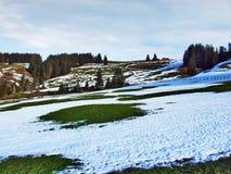 De wintersfeer op weilanden en landbouwbedrijven in de Urnasch-gemeente royalty-vrije stock fotografie