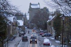 De wintersneeuw in Dornoch Schotland Royalty-vrije Stock Afbeelding