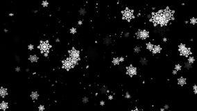 De wintersneeuw en Sneeuwvlokken 1 Loopable-Achtergrond stock videobeelden