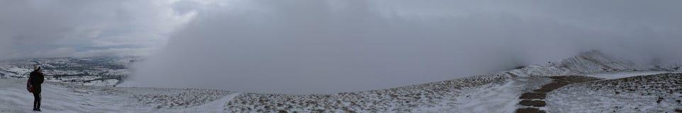 De wintersneeuw van Castleton, Piekdistrict, het UK Stock Afbeeldingen