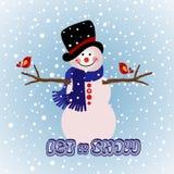 De wintersneeuwman Royalty-vrije Stock Afbeeldingen