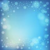 De wintersneeuwvlokken en zachte hoogtepuntenachtergrond Royalty-vrije Stock Fotografie