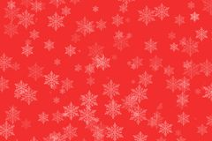 De wintersneeuwvlokken op rood voor Kerstmis royalty-vrije stock afbeeldingen
