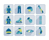De wintersport, het ski?en en wandelings vlak pictogram Royalty-vrije Stock Fotografie