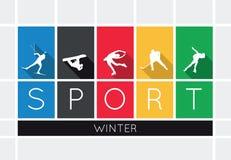 De wintersporten, silhouetten Royalty-vrije Stock Fotografie
