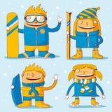 De wintersporten van de familie Stock Fotografie