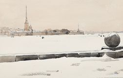 De winterst. petersburg, Peter en van Paul vesting en ijs-behandelde neva-Waterverf tekening stock illustratie