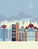 De winterstad Stock Afbeeldingen