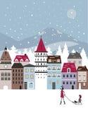 De winterstad Stock Fotografie