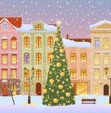 De winterstad met Kerstmisboom Stock Foto
