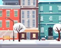 De winterstad met sneeuw Huizen op straat met weg in stad vector illustratie