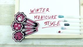 De winterstickers en manicurestijl stock footage