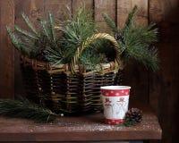 De winterstilleven met spar en pijnboomtakken Stock Afbeeldingen