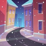 De winterstraat stock illustratie