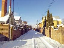 De winterstraat Stock Afbeelding