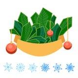 De de de winterstreep of spar vertakt zich met boog, lint, sneeuwvlokken en Kerstmisballen die op witte achtergrond wordt geïsole stock illustratie