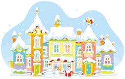 De winterstuk speelgoed stad royalty-vrije illustratie