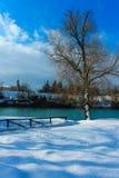 De wintertijd op de koude rivier stock afbeeldingen