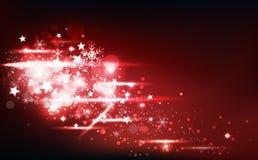 De wintertijd, vallende sterren verspreidt de confettien en de sneeuwvlokken het gloeien van de flikkeringsdecoratie de rode vier royalty-vrije illustratie