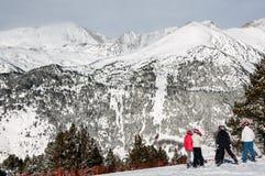 De wintertoevlucht Granvalira van Andorra Stock Afbeeldingen