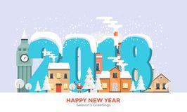De wintervakantie - de Vlakke banner van het ontwerpconcept Stock Afbeeldingen