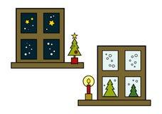 De wintervensters Stock Afbeelding
