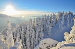 De winterverhaal op berg Stock Foto's