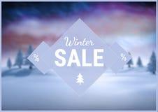 De winterverkoop met blauwe en purpere geïllustreerde achtergrond, tekst op driehoek Stock Fotografie
