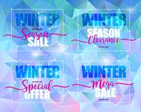 De winterverkoop op a op blauwe driehoekige achtergrond wordt geplaatst die Vectorillustratie, malplaatjeontwerp, lijst, brochure stock fotografie