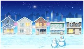 De wintervoorstad bij nacht Stock Afbeelding