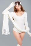 De wintervrouw in lichaamssweater royalty-vrije stock foto's