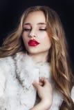 De wintervrouw in Luxebontjas Schoonheidsmannequin Girl in Bl Royalty-vrije Stock Foto's