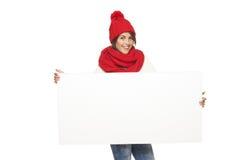 De wintervrouw met banner royalty-vrije stock afbeelding