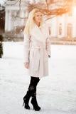 De wintervrouw op achtergrond van de winterlandschap? zon Manier gir Stock Fotografie