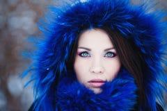 De wintervrouw in sneeuw buiten op sneeuwende koude de winterdag. Stock Afbeeldingen