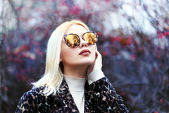 De wintervrouw in zonnebril stock afbeeldingen